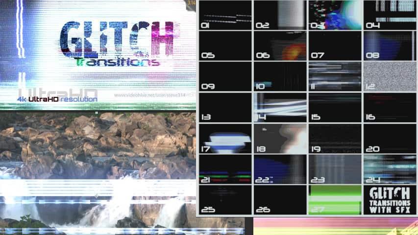 Переходы Glitch 4K для Видеомонтажа Скачать