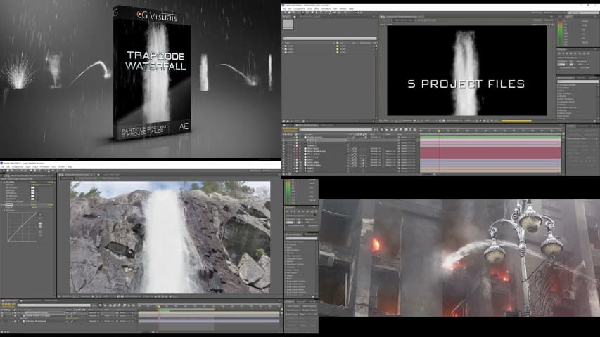 Водопад Трапкод Партикуляр — After Effects Project Free