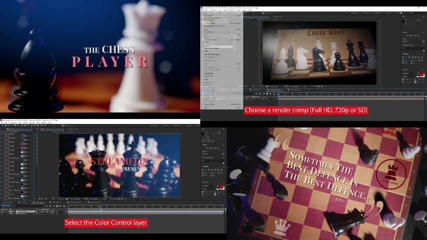 Шахматное Интро Открытие — Проект для Афтер Эффект